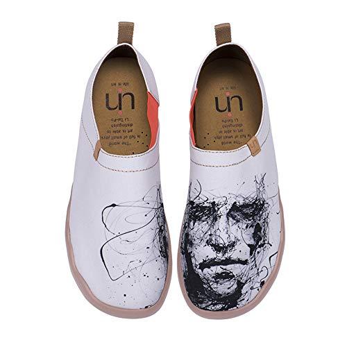 UIN Herr Schweigen Bemalte Canvas Schuhe Herren Slip On Weiß (43)