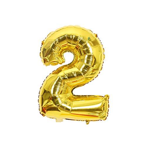 FUSIYU Foil Globo 2,Números 0-9 de Globo de Cumpleaños Fiesta Decoración,45CM de Globos para La Boda Aniversario, Suministros de Cumpleaños Individuación para Adulto Niños(Dorado 2)