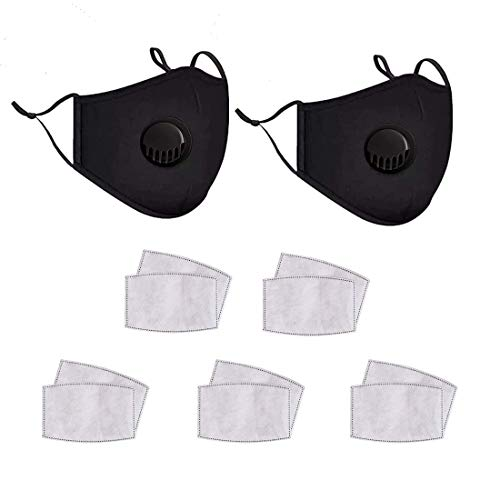 Adults Mouth Cover-2 Pack Reusable Breathing Valve Black Mouth Covers,with 10 Pcs Replaceable Activated Carbon Filter (Black)
