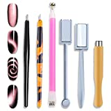 WOKOTO 6Pcs 3d Cat Eyes Magnetic UV Gel Nail Polish Pen Set Flower Ombre Design Double Head Magnet Stick Manicure DIY Tools