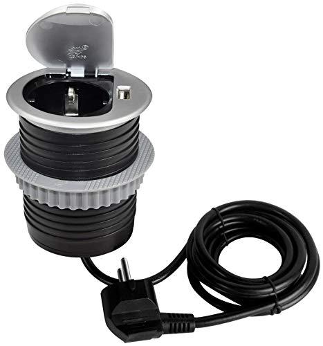 ChiliTec verzonken contactdoos voor bureau/werkblad 230 V met aansluitkabel (stopcontact + USB)