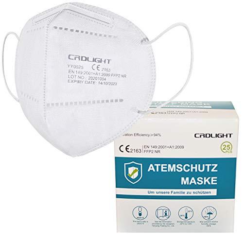 CRDLIGHT 100 FFP2 Masken CE Zertifiziert Atemschutzmaske Einzelverpackung in PE-Beuteln