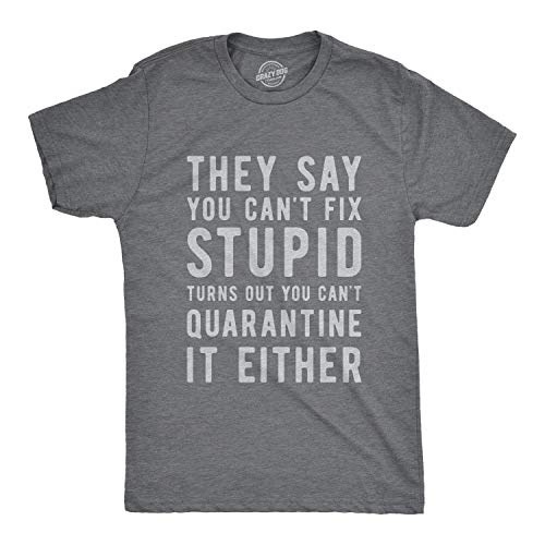 Crazy Dog T-Shirts Mens You Can't Fix Stupid You Can't Quarantine it Either Tshirt Funny Social Distance Tee (Dark Heather Grey) - L