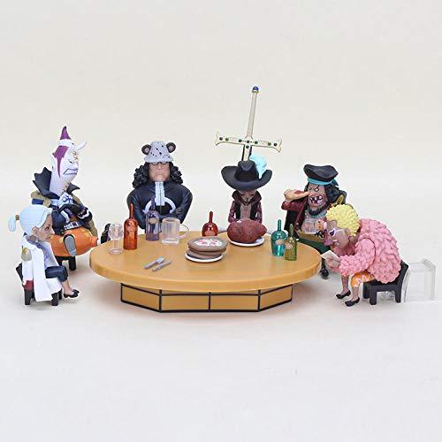 MNZBZ 7 unids/Set Figuras de accion de una Pieza Mesa Redonda Fiesta Dracula Mihawk Doflamingo Kuma Moria Figura de PVC Juguetes Brinquedos 6-9cm