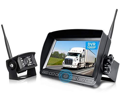 ZEROXCLUB Ⅱ Digital Wireless Backup Camera System Kit,HD 1080P & IP69 Waterproof Wireless Reverse Rear View Camera + 7'' DVR Split Monitor with Touch Button for RV/Truck/Trailer/Bus/Motorhome-B701