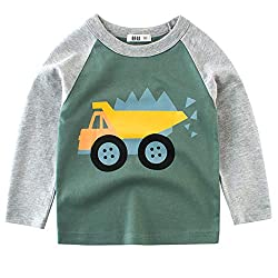 【Material】: The boy long sleeve T-shirts are made of 100% Cotton fabric, good air permeability, soft and comfy to wear. 【Various sizes】: Our toddlers tee is available for children 1-7 years (90-140 cm). Please carefully check the details of the size ...