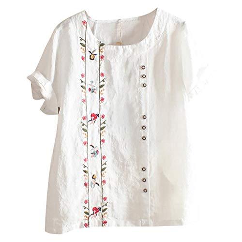VJGOAL Top dames t-shirt vrouwen meisjes elegant grote maten M-5XL vrije tijd mode borduurwerk katoen en linnen losse lange mouwen blouse