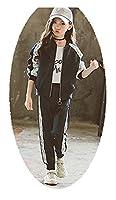 女子レースツーピーススーツセットジャケットジャケット+パンツスポーツウェア、春と秋の服、年長の子供たちカジュアルウェア、110センチメートル-170センチメートル navy blue-M