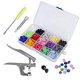 150 pcs Snaps Botones T5 Alicates de presion para DIY Manualidades 15 Colores
