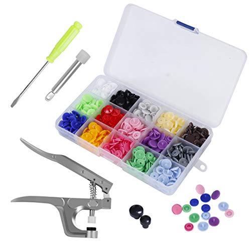 MaoXinTek 150 Stücke Druckknöpfe T5 Snaps Zange Set in 15 Farben mit Organizer Aufbewahrungsbehälter für DIY Basteln