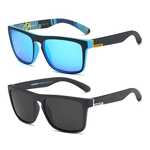 DUBERY Classic Polarized Sunglasses for Men Women Retro 100%UV Protection Driving Sun Glasses D731,2 Pack (Black/Blue+Black/Black)