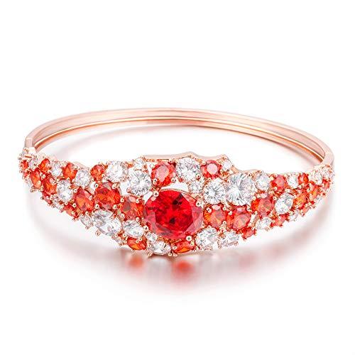 JinHan Pulsera para Mujer, Brazalete de Cristal Rojo Colorido, Exquisita joyería de Moda, Cobre antialérgico, Regalo de joyería para Madre o niña glamorosa en Oro Rosa