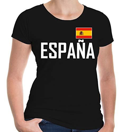 buXsbaum® Damen Girlie T-Shirt Spanien | Spain Espana Espagne Spagna Europa Ländershirt Fanshirt Trikot Reise | XL, Schwarz