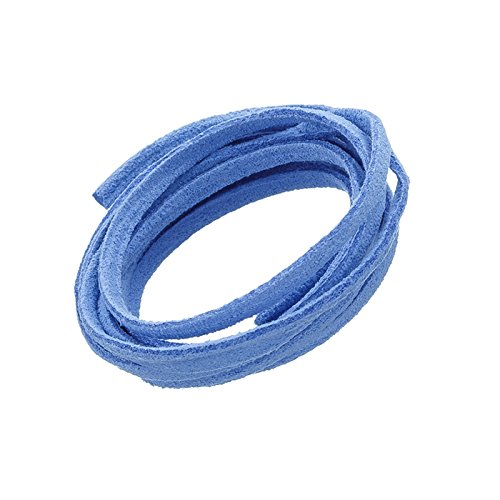3 X 1.5 mm Ultra Micro Fibre Cordon plat en faux daim Bleu clair 1 m