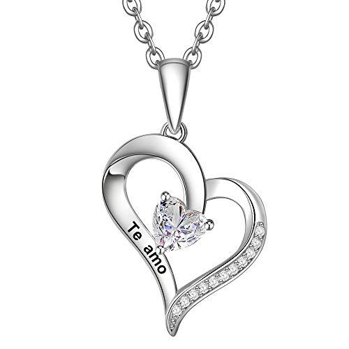 ENGSWA Collar Mujer Plata de Ley 925 Colgante Corazón Grabado Regalo para Mamá Abuela Hija Niña Esposa Novia