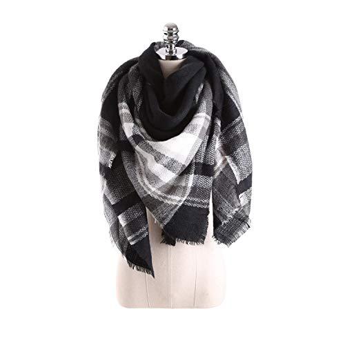 Alvnd Sjaals voor vrouwen, warme wintermode sjaals en wraps voor vrouwen, klassieke plaid zachte tartan blanket-sjaalverpakking, dames winter-kwast-sjaalsjaals 140 * 140cm kleur 13
