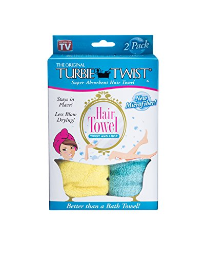 Turbie Twist Microfiber Hair Towel (2 Pack) Yellow-Aqua
