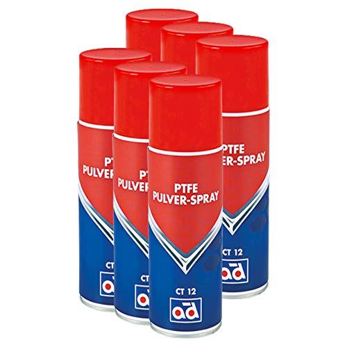 AD Chemie 6X PTFE-Spray Ct 12 400ml Trocken Spraydose Spray Teflon Auto PTFE Teflonspray Fett Druckluft Schmiermittel Kältespray Rostschutz Trockenschmierstoff 406051720