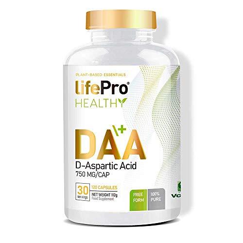 Life Pro Essentials DAA Ácido D-aspártico 750 mg – Suplemento deportivo para contribuir al crecimiento muscular y acelerar el metabolismo – 120 cápsulas