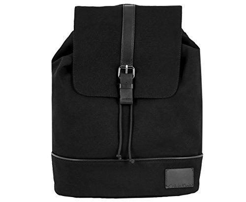 Calvin Klein CANVAS BACKPACK W/SMOOTH PU TRIM (Black)