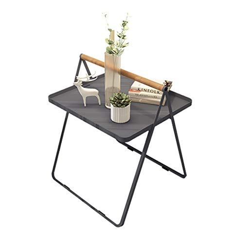 Living Room Furniture Iron Art Table, Multicolor Portable Portable Tea Table Living Room Sofa Side Balcony Tea Table Leisure Table Negotiating table (Color : Gray)