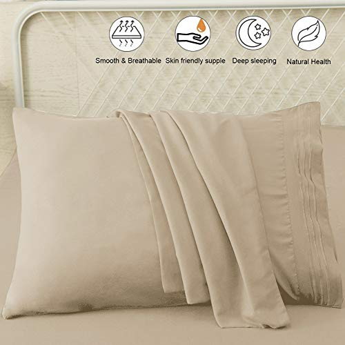 SONORO KATE Luxury Pillowcase Set Brushed Microfiber 1800 Bedding - Wrinkle, Fade, Stain Resistant - Hypoallergenic (Beige, 2 Pillowcases King)