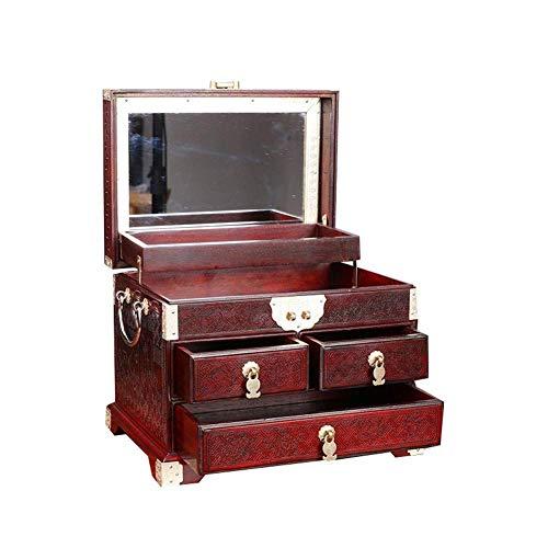 Jewelry Box Big Red Rosewood Unicorn Wedding Planken gesneden sieraden gouden en zilveren sieraden Storage Box antieke stijl Met Slot W12 / 19 (Kleur: wijnrood, Afmetingen: 26 * 19 * 20cm) lili