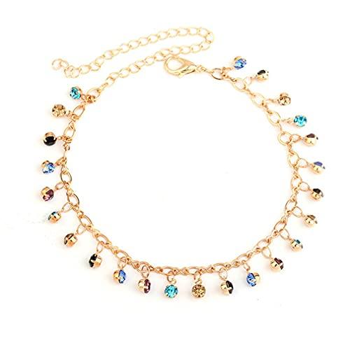 SJHFG - Cavigliera creativa con campanella e strass, per donne e ragazze, catenina dorata