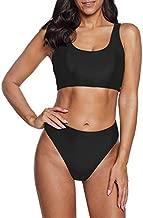 Zando Womens Swimsuits Athletic Two Pieces Bathing Suits for Women Sports Bras High Waisted Bikini Sets Swim Suit High Cut Bikini Swimwear Fashion Full Black Small (fits like US 2-4)