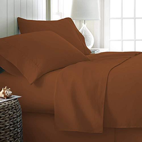Thread Spread 100 prozent ägyptische Baumwolle, Fadenzahl 500, 4-teiliges Bettlaken-Set, Farbe Kaffee, Größe voll – passend für bis zu 45,7 cm tiefe Taschen
