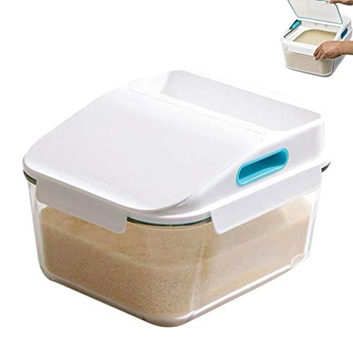 For Sale! Tempered Glass Rice Barrel Household Rice Storage Box Insect-Proof and Moisture-Proof Seal...