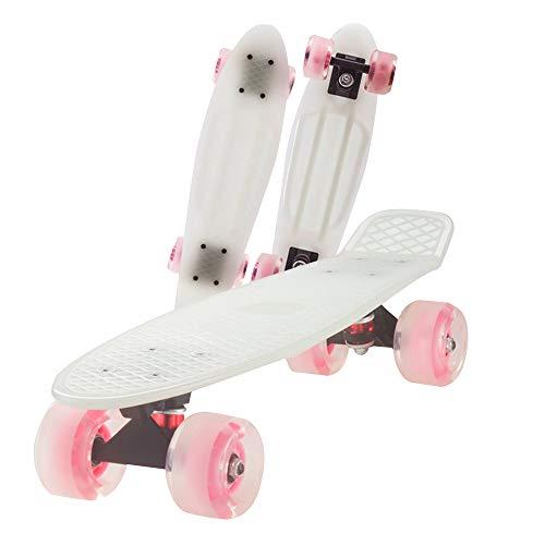 ZWBTY Mini-Skateboard, 22-Zoll-Allrad-Longboard, Retro-Cruiser-Kunststoff-Mini-Skateboard, Skateboard Für Anfänger, Kinder, Mit LED-Blinkrädern Für Outdoor-Sportstraßen, rutschfest,Weiß,Light