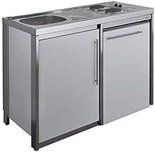 Moderna - Cuisinette avec Plaque et réfrigérateur Metalline 120cm, thermolaqué Aluminium - MODCUKPAZ120T42