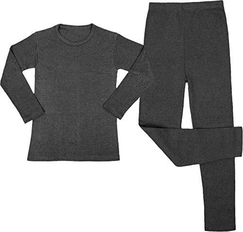 Kinder Thermo-Unterwäsche Set (Langärmligem Oberteil + Langer Unterhose) - Atmungaktiv, Wärmend und Kuschelig - ÖkoTex100 Farbe Anthrazit Größe M/134-140