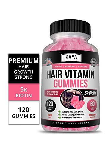 Kaya Naturals Hair Growth Vegetarian Vitamin Gummy Bears, 120 Count, Biotin, Vitamin D, Vitamin B-12, Vitamin A, Folic Acid, Natural Blueberry Flavor (120 Gummies)