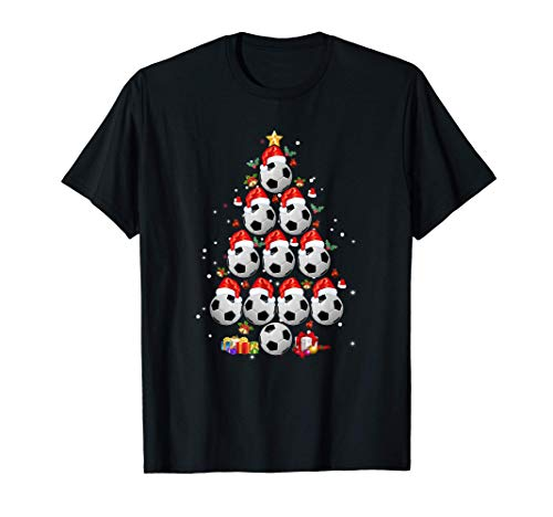 Soccer Balls Christmas Tree Shirt Lights Xmas Gift T-Shirt