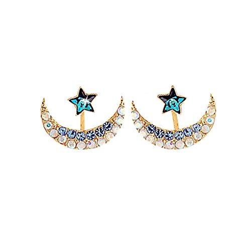 Guangcailun Estrella de la Luna en Forma de aleación de Mujeres Pendientes de Las Muchachas de la aleación del Cristal Decoración Mujeres de joyería de los Pernos prisioneros de Bucle