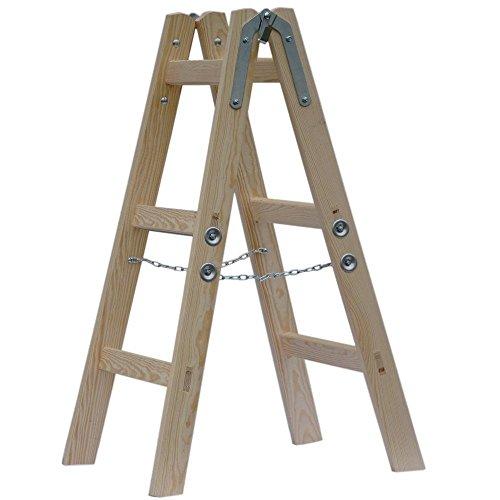 Systafex® Leiter Doppelstufenleiter Malerleiter Elektrikerleiter Stehleiter Holzleiter (3 Stufen) 95cm