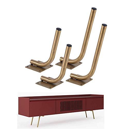 JXJ Patas para Mueble de Acero Inoxidable, inclinadas en Oro (4 Piezas), Patas para sofá de Estilo nórdico, Patas para Mesa de Centro, 18 cm / 25 cm