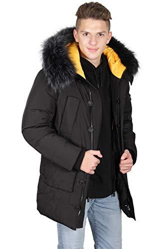 Grimada 6H23 Herren Winterjacke Arctic Parka KINGSWIND mit Echtfellkapuze (52, schwarz)
