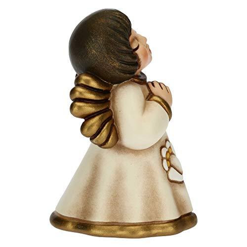 THUN - Soprammobile Angioletto Decorato con Giglio - Bomboniere Comunione - Linea Cerimonia - Formato Piccolo - Ceramica - 5,2 x 4,9 x 7,5 h cm