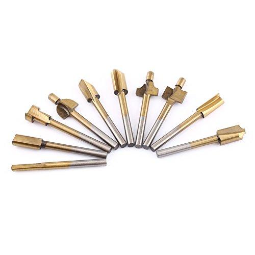 Delaman HSS-freesset, 10 stuks, titanium gecoate houtbewerking, randsnijder, trimmer, routermachine, bits, 1/8 inch schacht