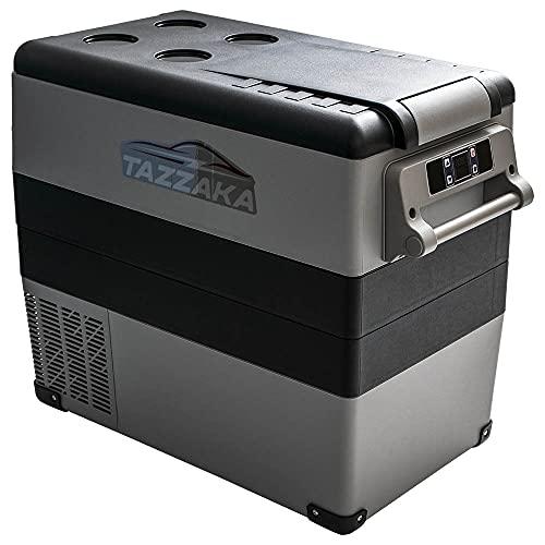 Tazzaka 55 Liter Kompressor-Kühlbox Tragbar 12V/24V Mini-Kühlschrank Elektrische Gefrierbox Gefrierschrank für Auto Camping, BBQ, Lkw,Boot, Manuelle und App Steuerung für Android & iOS, -20℃ bis 20℃