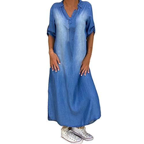 LÄNge Kleid, Damen Jeanskleid Kurzarm Mode V-Ausschnitt Revers Lang Hemd Kleider Blusekleid Denim Dress Party Cocktail Abendkleid