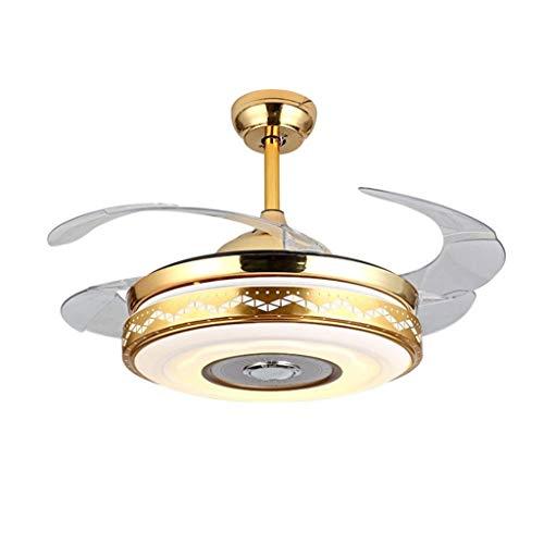 MYBA Ventilador de techo Stumm dorado de 100 cm, moderno, lámpara de techo, mando a distancia, cuchillas retráctiles, para salón, dormitorio, restaurante (tamaño: 42 pulgadas)