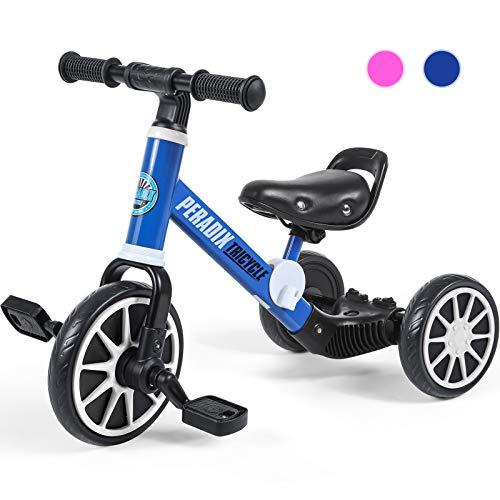 Peradix 3 in 1 Triciclo per Bambini | Triciclo Bambini 1 Anno con Pedali |Bici Senza Pedali 2 Anni | Triciclo a Pedali 2 Anni Interno ed Esterno | Pedale Rimovibile | Prima Bici Regalo (12-48 Mesi)