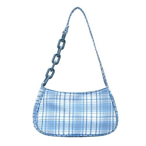 Akemaio Achsel Tasche für Frauen Retro, Vintage Umhängetaschen Karierte Handtaschen Französisch Elegante Umhängetasche für die Arbeit Business School College Travel