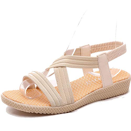 Mujeres tacón cuña Sandalias Open Toe Casual Verano Zapatos de la Correa de Tobillo Plataforma Tacones Gladiador