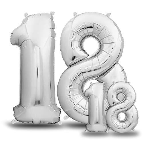 envami Globos de Cumpleãnos 18 Plateado I 101 CM + 40 CM Globos 18 Años I Globos Numero 18 I Decoracion 18 Cumpleaños Mujer Hombre I Globos Numeros Gigantes para Fiestas I Vuelan con Helio