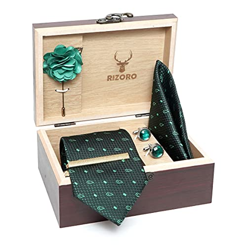Rizoro Mens Plaid Micro Self Silk Paisley Bottle Green Necktie Gift Set With Pocket Square Cufflinks Brooch Pin Men Tie Clip Formal Tie With Wooden Box For Gifting (RW_34, Free Size)